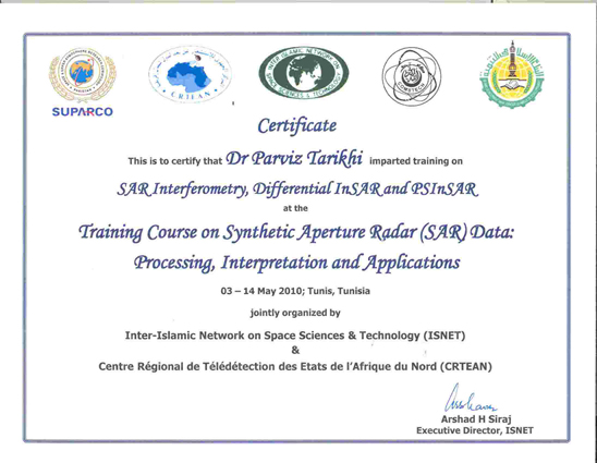 Isnetcrtean training course on sar imagery processing trainer certificate yadclub Images