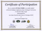 Certificate of Participation; ISNET/CSE Workshop on the Applications of Space Technology for Food Security, 9 – 14 July 2012 Dakar, Senegal